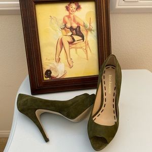 Enzo Angiolini Green Suede Leather Peep Toe